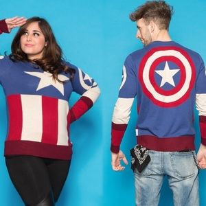 Marvel Captain America Uniform Sweater Blue small